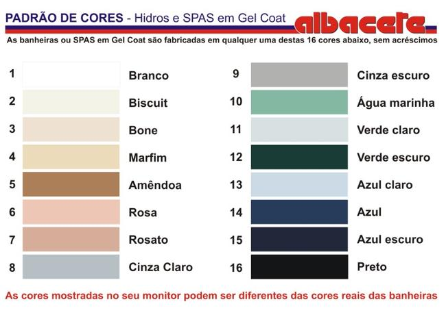 Tabela de cores do gel coat Albacete